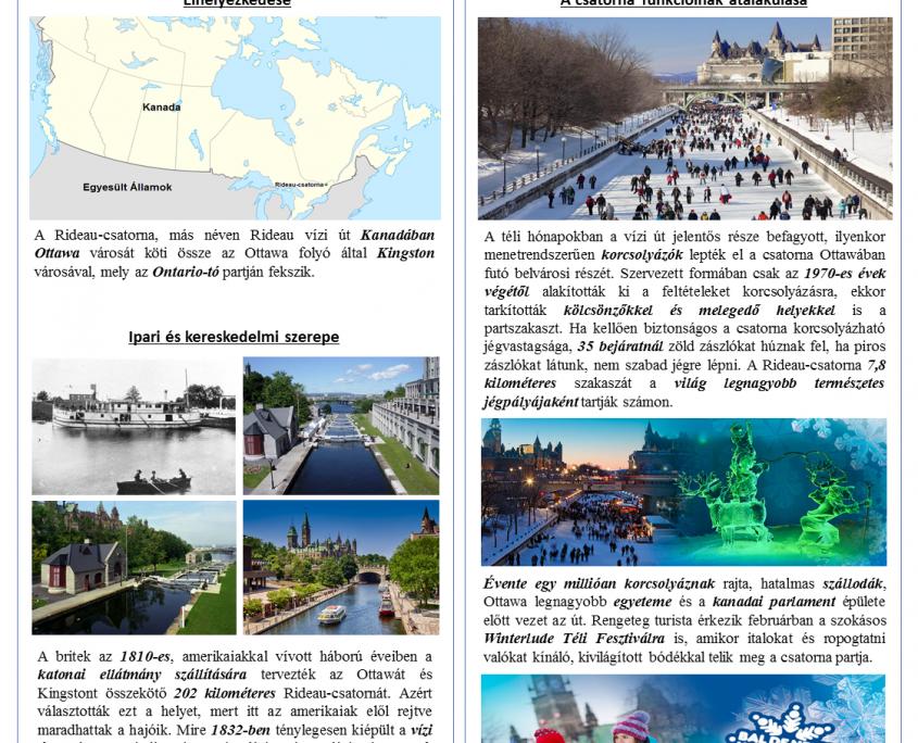 Kardos Boglárka-Román Nóra-Simon Dóra Turizmus menedzsment mesterszak I. évf.: Rideau-csatorna